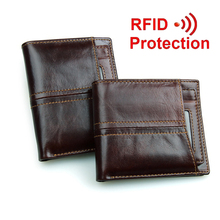 New travel RFID wallet genuine leather men wallets with detachable credit card holder purses carteira masculina RFID protection