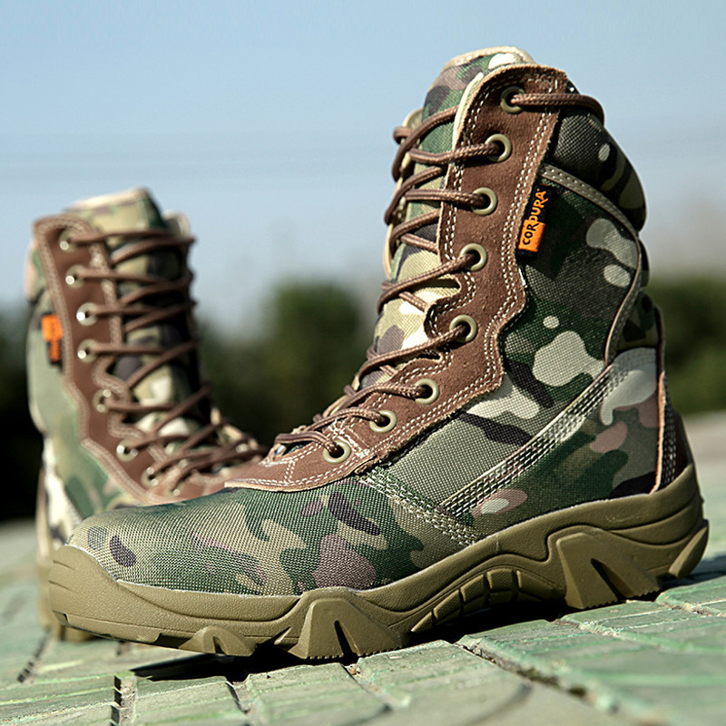 Outdoor Autumn Winter waterproof Army Men Ankle Desert Botas Tactical Military Combat High Tall Boots Sport  Travel Hiking Shoes<br>
