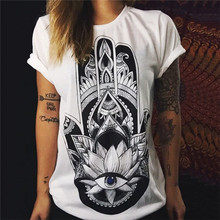 Vintage Eyes Hip Hop White Women Punk Rock Print T Shirt Print Sunflower Loose Tops Tees Summer Cotton Casual Tshirts 5>B2053!