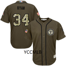MLB Men's Texas Ranger #34 Nolan Ryan Green Salute to Service Stitched Baseball Cool Base Player Jersey Free Shipping(China)