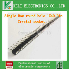 Free shipping 20pcs/lot  800pin  Single Row round hole 1X40 Pin Crystal socket DS18B20 socket 2.54 mm