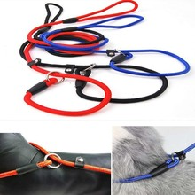 1 pc Solid Color Normal Dog Lead Rope Leash Slip Lead Strap Pet Walking Rope Adjustable Pet Collar Dog Training Nylon Rope