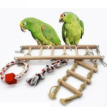 Colorful Parrot Toys Parrot Climbing Net Hanging Ladder Bridge Macaw Cage Chew Decoration Bird Toys Pet Supplies With Bells(China)