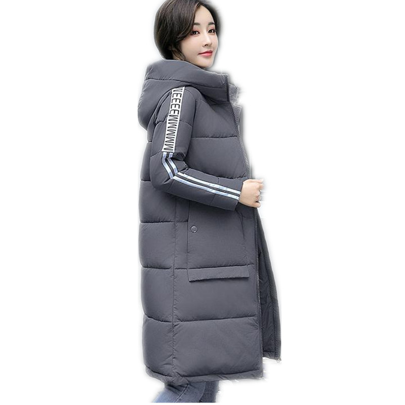 2017 New Fashion Print Letter Winter Women Down Cotton Long Jacket Parka Female Hooded Thicken Size M-3XL Cotton Warm ParkaCQ435Îäåæäà è àêñåññóàðû<br><br>