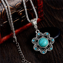 H:HYDE Vintage Style Neckalce Elegant Flower Pendant Charming Natural Stone Necklace Women's Jewelry Nice Shipping
