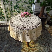 Crochet Round Tablecloth Handmade Cotton White Round Tablecloth Lace 110 / 120 Tablecloth Free shipping