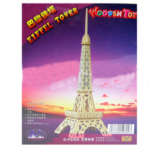 F09644 Wooden 3D Puzzle Small Eiffel Tower DIY Hand-assembled Educational Toys for Children(China)