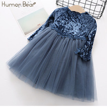 Humor Bear New Spring Autumn Fashion Style Girls Dress Patchwork Velvet Design Princess Dress Kids Dress Children Clothes