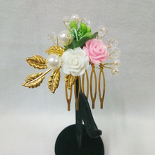New Handmade Hair Comb Jewelry Bridal Hair Vine Baby Pageant Ceramic Flower Wedding Hair Accessories Comb Crystal Headdress Gift(China)