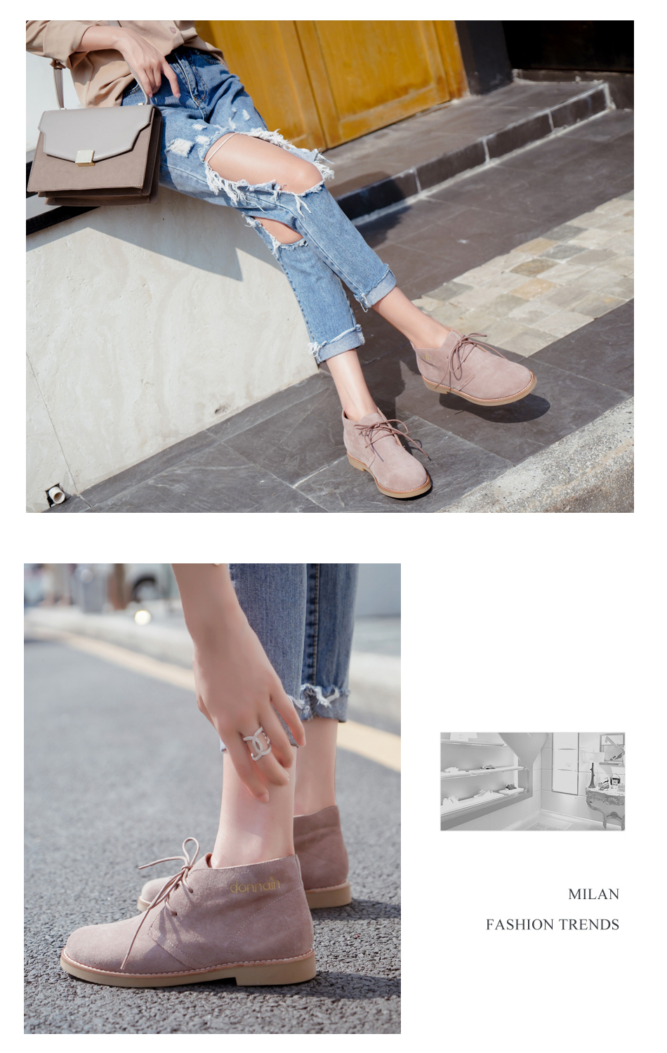 Donna-in Ankle Boots for Women Martin Boots Genuine Leather Shoes Flat Casual Booties Woman 2019 Spring Lace up Plus Size Ladies (3)