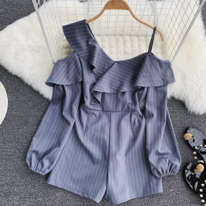 Spring Summer Jumpsuit for Woman Women's 2019 New Heart Machine Lotus Edge V-neck Long Sleeve High-waist Stripe Short Overalls 26