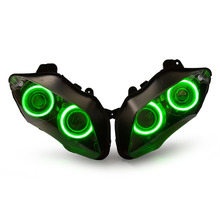 KT Headlight for Yamaha YZF R1 2007-2008 LED Angel Halo Eyes Green Motorcycle HID Projector Assembly Kit 55W