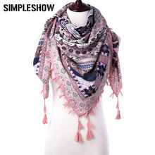 SIMPLESHOW fashion Winter Scarf Women winter tartan Tassel plaid scarf Geometric Pattern Scarf Thick Soft Scarf Ladies warm(China)