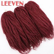 Leeven 18'' Afro Kinky Twist Hair Crochet Hair DIY Braids Synthetic Braiding Hair Extension High Temperature Fiber 3Piece/lot(China)