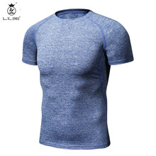 Buy Men Compression Shirts MMA Rashguard Keep Fit Fitness short Sleeves Base Layer Skin Tight Weight Lifting Elastic T Shirts Homme for $9.32 in AliExpress store