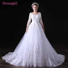 Buy Lace Vestido De Noiva 2018 Wedding Dresses A-line V-neck 3/4 Sleeves Appliques Boho Cheap Wedding Gown Bridal Dresses for $125.00 in AliExpress store