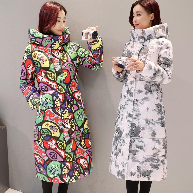 Wmwmnu 2017 Print Thick Warm winter jacket women windproof jacket with hood Cotton padded coat parkas women winter coat 055Îäåæäà è àêñåññóàðû<br><br>