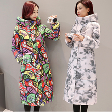Wmwmnu 2017 Print Thick Warm winter jacket women windproof jacket with hood Cotton padded coat parkas women winter coat 055(China)