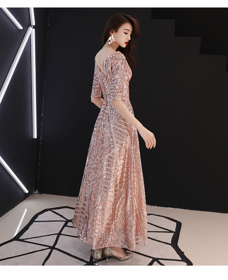 2019 Fashion Pink Sequins Pattern Long Dress Evening Birthday Celebrate Dress Women Singer Stage Show One-piece Shining Dress