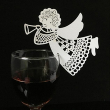 10 Colos 50pcs Angel Shaped Laser Cut Table Mark Wine Glass Name Place Cards Wedding Birthday Baby Shower Party Favor Supplies(China)