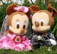 Children Stuffed Toy  Wedding black Mickey and white minnie baby cotton plush toys birthday gift doll 35cm