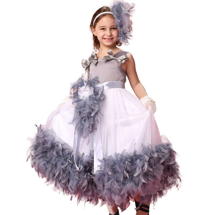 Hotsale new fashion 2017 party kids white and grey feather dresses for girls of 7 years old<br>