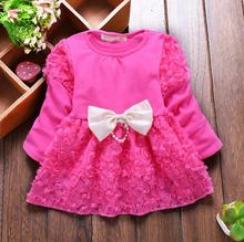 2017 Spring Summer Sweet Baby Girl Dress Long Sleeve 1 Year Baby Birthday Dress Newborn Bow Infant Girls Party Dresses(China)