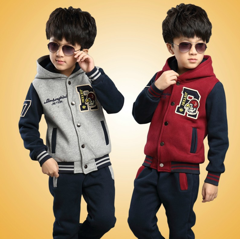 Boys clothing 2017 autumn and winter sweatshirt teenage boys big boy sports coat+pants set letter R kids sport suit Retail 6-16Y<br><br>Aliexpress