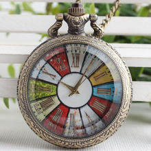 Fashion Retro Pocket Watch Loudspeaker Roman Color Dish Turntable Pocket Watch Male And Female Hanging Watch 3SY71(China)