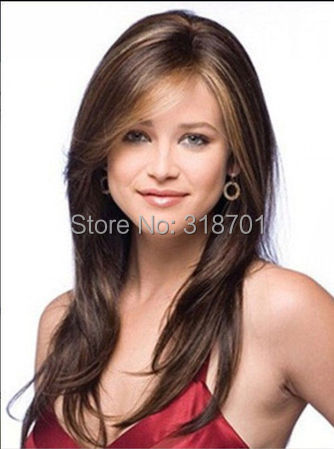 Long Brown And Auburn mix color synthetic hair wig free shipping<br><br>Aliexpress