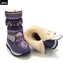 Ollas 2017 Boots Women Waterproof Winter Shoes Snow Boots Plush Warm Fur Antiskid Outsole Girl Shoes YSO915(China)