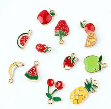 20pcs Fruit Cherry strawberry mix Metal Charm Key chain Pendants DIY earrings necklace Jewelry Making Mobile Phone Accessories