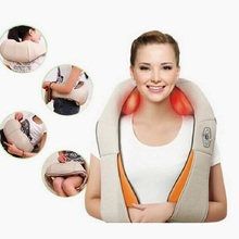 Electric Shiatsu Back Neck Shoulder Massager body infrared 3D kneading massager EU plug flat plug Car And home Dual use