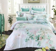 2017 new design green leaf fashion Quality 100% natural Tencel silk Spring summer 4pcs bedding bed sheet pillowcase set/B3505