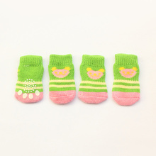 Armi store 6081010 Bear Striped Green Dog Sock Latex Skid-Proof Fashion Pet Socks For Dogs Clothing Accessories S, M Size