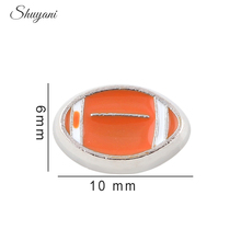 20pcs/lot Newest Alloy Enamel American Football Floating Locket Charms for Living Floating Locket Wholesale