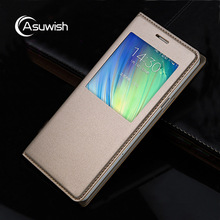 Asuwish Flip Cover Leather Case For Samsung Galaxy A3 2015 A300 A300F A300H Phone Case Slim View Shockproof Bag Original Sleeve