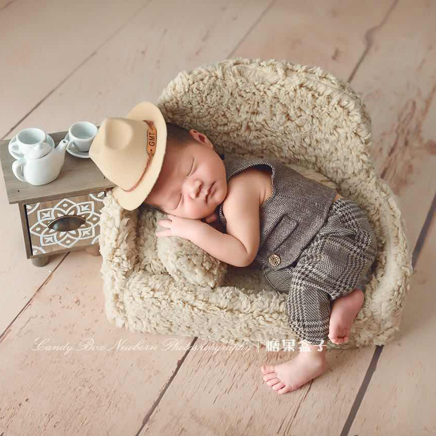 NewBorn Baby Photography Sofa Props + Wooden Tea Set Table Photography Prop Baby Seat Chair