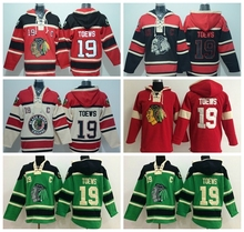 Cheap Chicago Blackhawks 19 Jonathan Toews Hoody Skull Black Red Green Beige Jonathan Toews Hockey Hooded Old Time Pullover Swea(China)