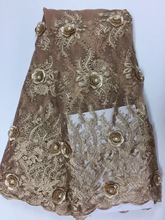 3d flower lace embroidered fabric bridal lace fabric wholesale african french lace fabric market in dubai DF032(China)