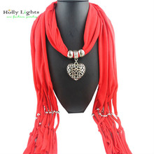 Red bohemian Scarves  female Pendants & Necklaces Scarf Women metal  Hollow Heart Beads Christmas  Gift Fashion Jewellery ethnic