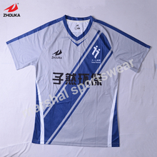 custom soccer uniform with blue strips builder jersey designs for football team