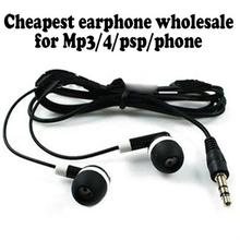 Wholesale Cheapest disposable earphones for bus or train or plane For shool gift one time use black color 100pcs/lot