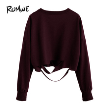 Buy ROMWE Crop Tops Women 2016 Sexy Slim Fit Tee Autumn Womens Clothing Drop Shoulder Long Sleeve Cut Crop T-shirt for $10.88 in AliExpress store