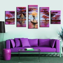 5 Pcs/Set No Framed Hand-Painted Purple Oil Paintings African Landscape Wall Pictures For Bedroom Canvas Painting Poster Artwork