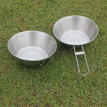 Folding Stainless Steel Bowl Outdoor Camping Portable Cooking Pot cookware Picnic Cooking tableware jacketed kettle
