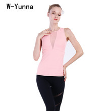 Buy W-Yunna Solid Color Mesh Desigh V-neck Workout Top High Spandex Acetate Tank Top Women Slim Sexy Fitness Camis Tees for $17.58 in AliExpress store