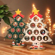 2017 Xmas HOT 1PC DIY Cartoon Wooden Christmas Tree Decoration Christmas Gift Ornament Table Desk Decoration(China)