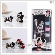 100 PCS Wholesale Cartoon Mickey Mouse 3.5mm In-ear Earphone Headsets Cute Minnie Earphones for iPhone mp3 via DHL Shipment
