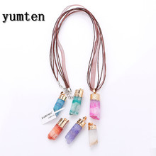 Yumten Jewelry 40MM The Geode Natural Clusters Crystal Big Pendants Buds Ribbon Necklace Cave Jewelry Making Statement Gift
